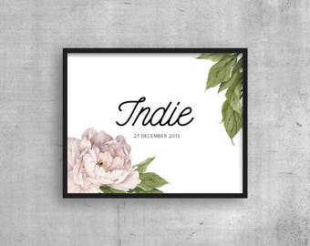 Personalized Nursery print - girls - Peony rose CUSTOM name and birth date - kids room print - Digital download wall art Girls room decor
