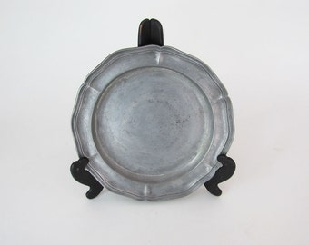 Antique Pewter Plate with Scallop Edge - Hallmarked ON SALE Final Price