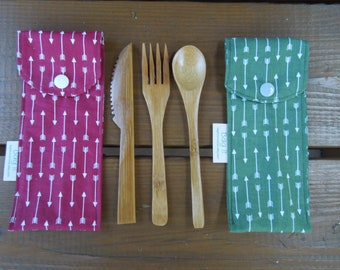 Reusable bamboo cutlery and carrying pouch  - Picnic cutlery case - Flatware pouch - Bamboo cutlery - Waste free lunch - Arrows
