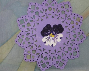 Purple Pansy Wooden Doily