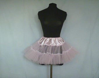 Pink Micro Satin/Net Petticoat 3 layers