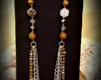 After Life Accessories Repurposed Bohemian Layered Wood beaded Chain Necklace