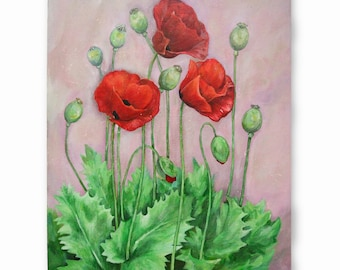 Poppy paiting| 16x20 Acrylic painting| Flower painting| Original Floral painting| Painting on canvas| Pink wallart|Modern painting|Midsummer