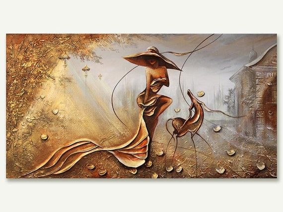 Night wind original oil painting landscape art deco gold oil