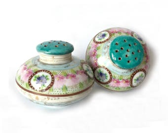 Hand Painted Porcelain Salt and Pepper, Vintage Teal Pink Pastel Salt and Pepper, Round China Salt Pepper, Floral Flower Salt Pepper