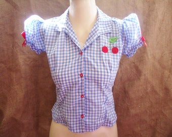 Cute,blue gingham,check puff sleeve blouse with heart buttons,bows,cherry!Rockabilly,pin-up,1940's,1950's,hillbilly,kawaii,lolita,vintage!