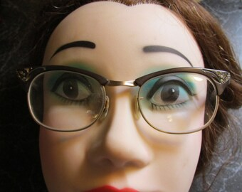 Vintage Womens Cat's Eyeglasses Eyewear Spectcales Prescription Bifocals
