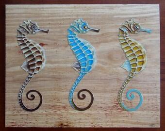 Seahorse Trio- Original Painting on Wood - Mixed Media - Family of Seahorses