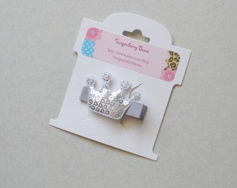 Sequined Crown Applique Hair Clip - Silver