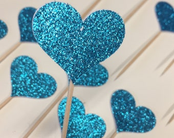 12 Cupcake Toppers Sparkling TEAL HEARTS Wedding Cake Decorations Food Picks