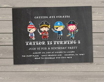 pirate birthday invitation printable, pirate boys any age, faux chalkboard, digital invites PDF or JPG