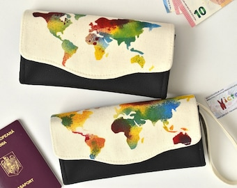 Rainbow world map wallet, Colorful women's wallet, One of a kind wallet, Gift for mother, Gift for travelers, Necessary Clutch Wallet 4 her