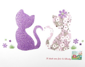 Applied fusing liberty Mitsi fabric cats purple & flex glitter patch iron on fusible patterns cat applique iron on patch