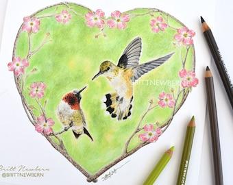 Humming Bird Heart PRINT