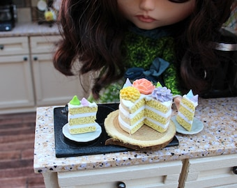 Miniature 3 Layer Naked Yellow Cake with Buttercream Flowers Meringue Kisses and Greens with 2 Cut Slices for Blythe Barbie Playscale
