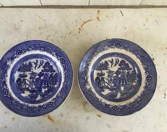 Pair of Vintage Blue Willow Rim Soup Bowls Ratcliffe England