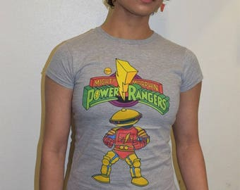 Power Rangers Logo Alpha Official Ladies Fitted T-shirt (Heather Grey) MMPR Mighty Morphin Power Rangers