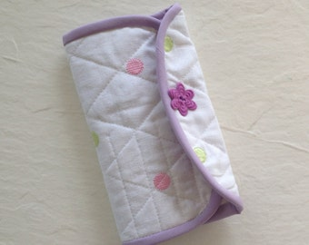 Crochet Hook Case - white polka dot quilted cotton carrying case, tri fold hook storage, holder, organizer for crocheters