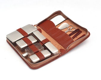 Mid Century Mens Leather Travel Kit, Brown Leather Case Chrome set 60s, Travel Grooming Shaving Beard Care Kit with chrome finish