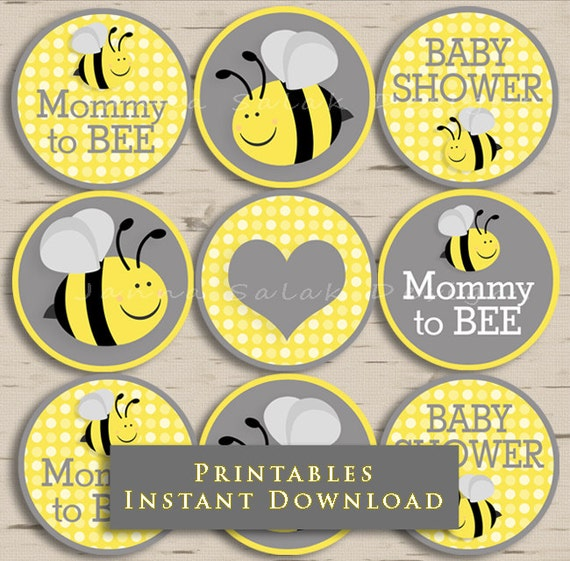 Good Mommy To Bee Baby Shower Cupcake Toppers Party Yellow And Grey