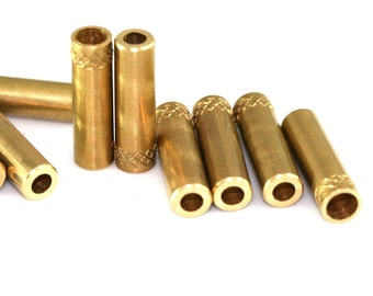 Rope end cap 10 pcs Raw Brass 7 x 25 mm (hole 5 mm 3,5 mm) 1718