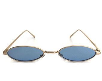 90s Blue Sunglasses | Small Oval Sunglasses | Retro Sunglasses | See Through Minimal Sunglasses | 1980s 1990s 80s Vintage Style Half Cat Eye