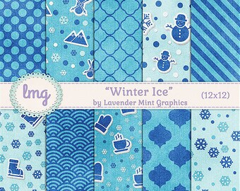 Blue Winter Digital Paper - Winter Ice - Blue Patterns, Snowflakes, Snowman, Mittens, Sled, Coffee Cups, Instant Download, Commercial Use