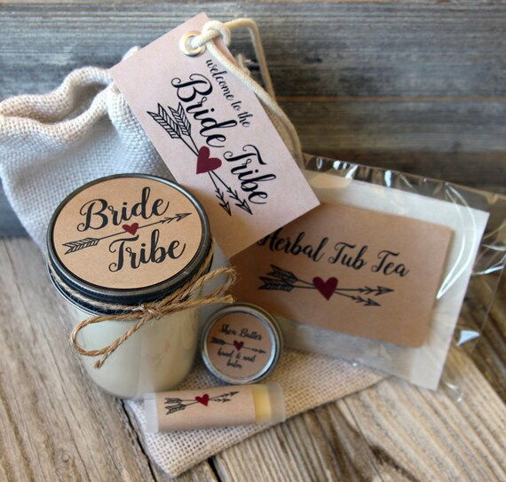 Kraft  - Bride Tribe - Bridesmaid Proposal Gift - candle -hand balm - lip balm - relaxing bath soaking tea for the tub:)