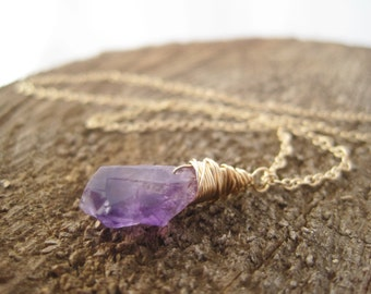 Rough Cut Amethyst Pendant - Raw Amethyst Necklace- Purple -  Amethyst Necklace - February Birthstone-  Amethyst Drop