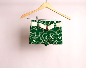 vintage KIDS mid century gold ANCHOR buckle palm springs style SWIMTRUNKS green and white size small shorts