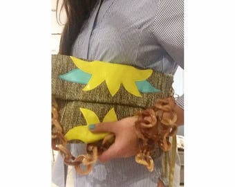 Stella  crossbody woven bag in yellow