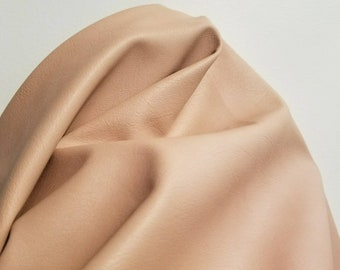 """Light Tan Faux Vegan """"Cacti"""" leather Pleather sold by the yard 36 x 52 inches wide Synthetic fabric one yard 1 to 5 yards NAT Leathers"""