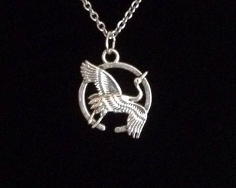Silver flying crane pendant necklace