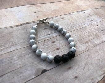 Howlite Essential Oil Diffuser Bracelet Lava Bead Gemstone Bracelet Doterra Bracelet Diffuser Bracelet Aromatherapy bracelet