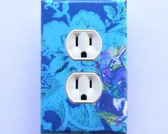 Alice BLUES Plates and Outlet covers with MATCHING SCREWS- Alice in Wonderland art Alice collectible Alice blue nursery outlet cover nursery