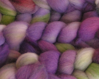 Roving Fiber Top Wool Falkland LAVENDER FIELDS easy spin Sample Phatfiber Feature March Gorgeous Spin Felt Craft Purple Green