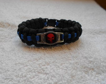 The Punisher Series - Charm # 1A (Red) - Paracord Bracelet - Hand Made