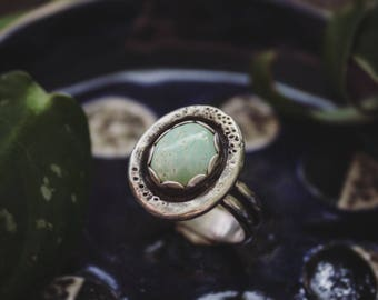 Sterling Silver Royston Turquoise Ring with Thick Rustic Border, Handmade Sterling Silver Minty Turquoise Ring, Beachy Silver Ring Size 9