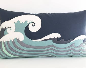 Ocean Waves Lumbar Pillow in Soft Aquas and Gunmetal Grey