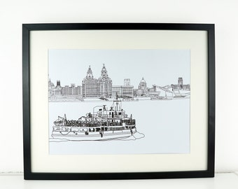 Liverpool skyline Print, Liverpool Print, Liverpool ferry drawing, Mersey ferry, Picture of Liverpool, Illustration of Liverpool skyline