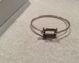 Sterling Silver Bamboo Design Bangle Bracelet