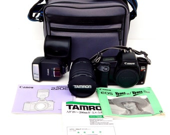 Vintage SLR Film Camera Bundle Canon EOS Rebel SII w/ Lens Tamron 71D AF28 w/ Flash Canon Spedlite 220EX w/Manuals w/Carrying Case