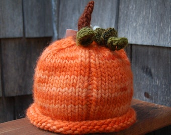 knit baby hat fall pumpkin made to order