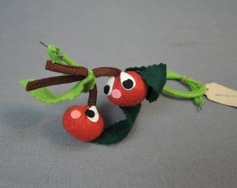 Vintage Millinery Felt Cherries, Made in Italy, Novelty Cherry Fruit with Eyes