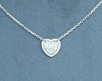 Heart Necklace, fine silver, silver heart, textured heart