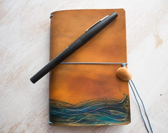 Field Notes Cover, Travel journal, Leather Notebook, Mermaid, Beach