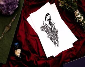 Five of Wands Original Ink Art / Tarot Card Deck / Empowering Art / Cartomancy Art / Female Body Art / Female Tarot Deck / Empowering Female