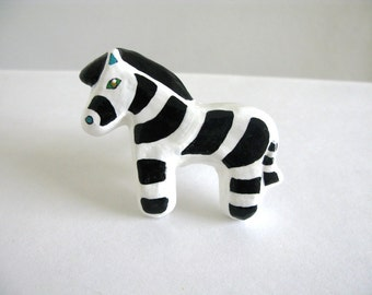Zebra Drawer Knob -  ceramic pull for dresser drawers kids rooms