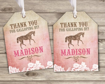 Rustic Lace Horse Thank You Tags Printable Gift Tags Shabby Chic Country Cowgirl Theme Party girl Rustic Modern Download lace pdf TT4004