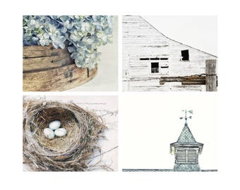 Rustic Country Barn Art, Contemporary Farmhouse Style Wall Decor, Weathervane Art, Blue & Brown, Set of 4